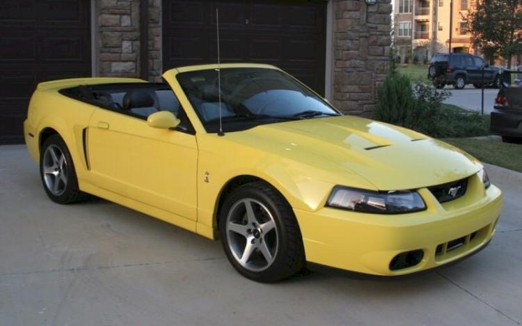 Yellow mustang convertible